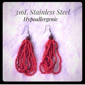 Red Seed Bead Stainless Steel Earrings